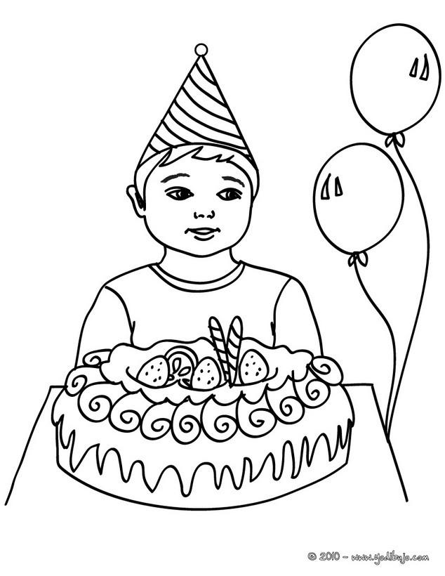 Dibujos para colorear niño con su pastel de cumpleaños - es ...