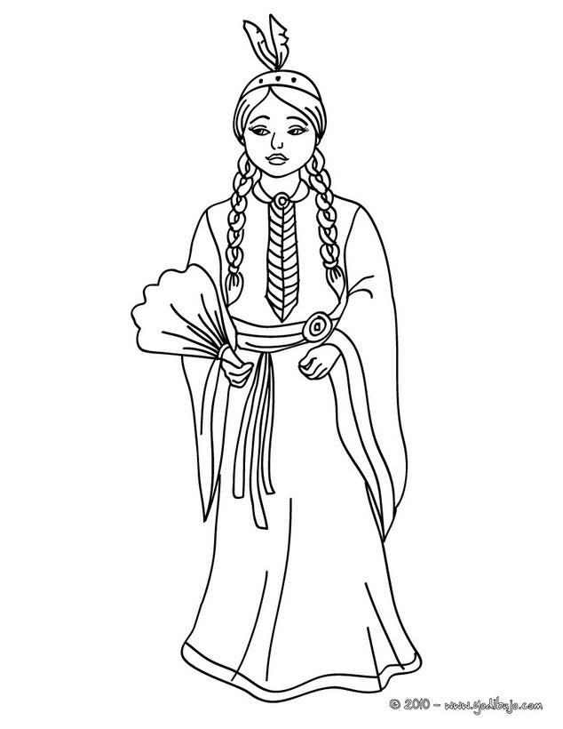 Dibujos para colorear princesa apache - es.hellokids.com