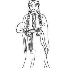 Princesa comanchera para colorear - Dibujos para Colorear y Pintar - Dibujos de PRINCESAS para colorear - Dibujos para colorear PRINCESAS gratis
