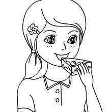 Dibujo para colorear : Niña comiendo pastel de cumpleaños
