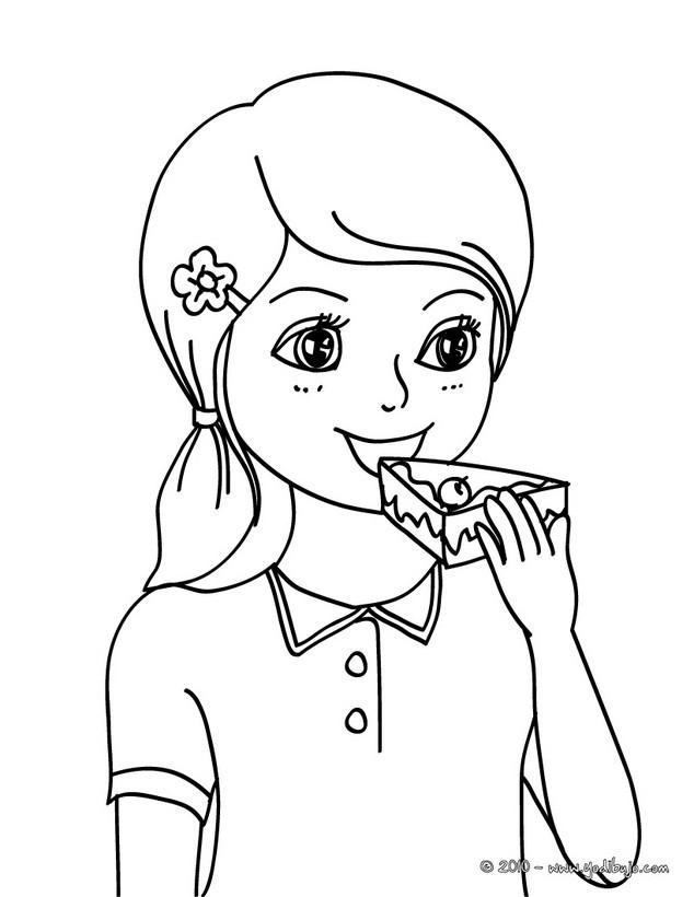 Dibujos para colorear niña desayunando