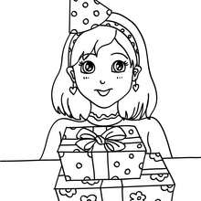 Niña con sus regalos de cumpleaños para colorear - Dibujos para Colorear y Pintar - Dibujos para colorear FIESTAS - Dibujos para colorear CUMPLEAÑOS - Dibujos para colorear FELIZ CUMPLEAÑOS