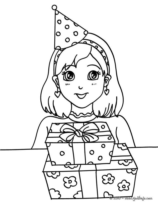 Dibujos para colorear FELIZ CUMPLEAÑOS, Niña con sus regalos de ...