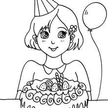Dibujo para colorear : Niña con su pastel de cumpleaños