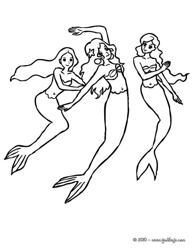 Dibujos Para Colorear Sirenas Sentadas En Una Roca Es