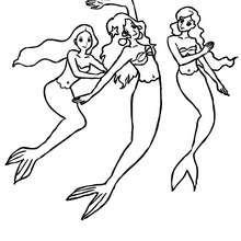 Dibujo para colorear sirenas nadando - Dibujos para Colorear y Pintar - Dibujos para colorear de FANTASIA - Dibujos SIRENAS para colorear - Dibujos de SIRENAS para imprimir