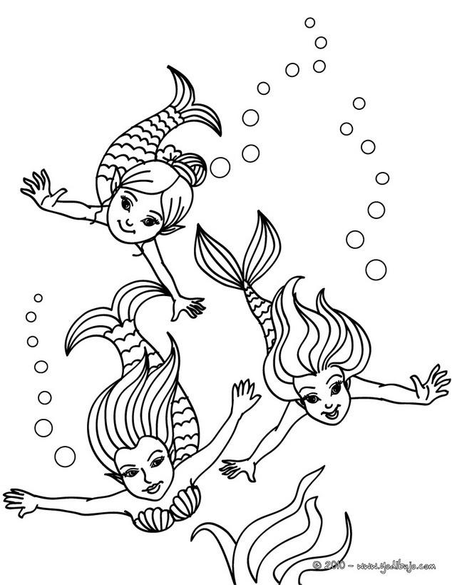 Dibujos SIRENAS para colorear - 41 dibujos de fantasía para colorear ...