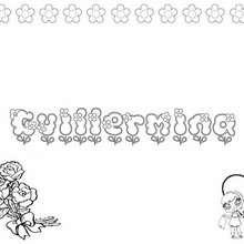 GUILLERMINA colorear nombre niña - Dibujos para Colorear y Pintar - Dibujos para colorear NOMBRES - Dibujos para colorear NOMBRES NIÑAS