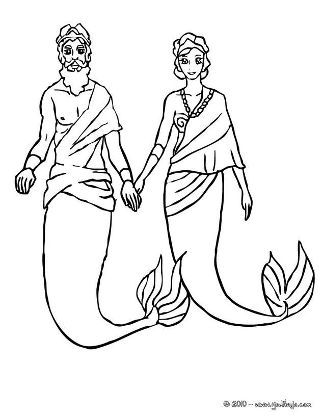 Dibujos para colorear rey tritón con su esposa sirena - es.hellokids.com