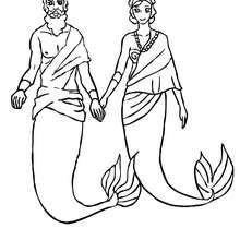 Dibujo para colorear : Rey Tritón con su esposa sirena