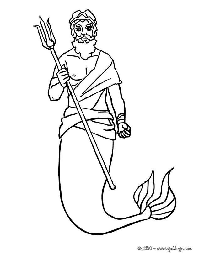 Dibujos para colorear rey triton con su tridente - es.hellokids.com