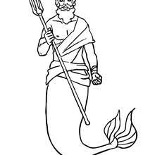 Dibujo para colorear : rey Triton con su tridente