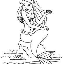 Dibujo para colorear una sirena sentada en una roca - Dibujos para Colorear y Pintar - Dibujos para colorear de FANTASIA - Dibujos SIRENAS para colorear - Dibujos para pintar SIRENA