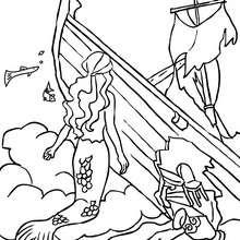 Dibujo para colorear : sirenas explorando un barco hundido
