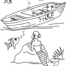 Dibujo de una sirena explorando los restos de un barco - Dibujos para Colorear y Pintar - Dibujos para colorear de FANTASIA - Dibujos SIRENAS para colorear - Dibujos para pintar SIRENA
