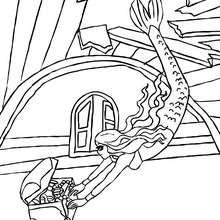 Dibujo de una sirena encontrando un tesoro submarino para colorear - Dibujos para Colorear y Pintar - Dibujos para colorear de FANTASIA - Dibujos SIRENAS para colorear - Dibujos para pintar SIRENA