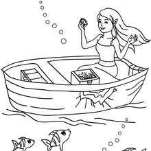 Dibujo para colorear una sirena con su tesoro - Dibujos para Colorear y Pintar - Dibujos para colorear de FANTASIA - Dibujos SIRENAS para colorear - Dibujos para pintar SIRENA