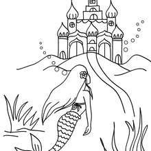 Dibujo para colorear : el palacio submarino de Triton