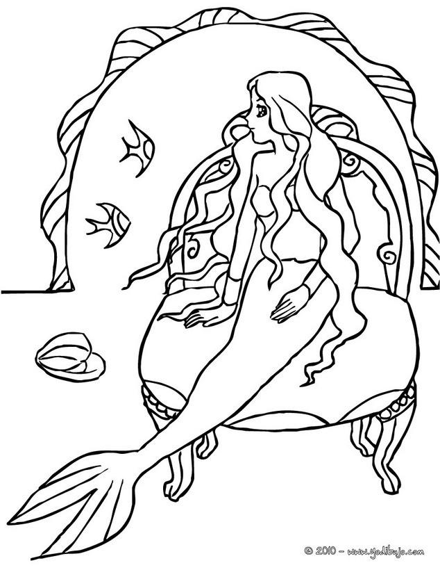 Excelente Sirenas Para Colorear Bosquejo - Dibujos Para Colorear En ...
