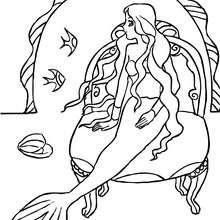 Dibujo para colorear una sirena en su palacio submarino - Dibujos para Colorear y Pintar - Dibujos para colorear de FANTASIA - Dibujos SIRENAS para colorear - Dibujos del REINO DE LAS SIRENAS para colorear