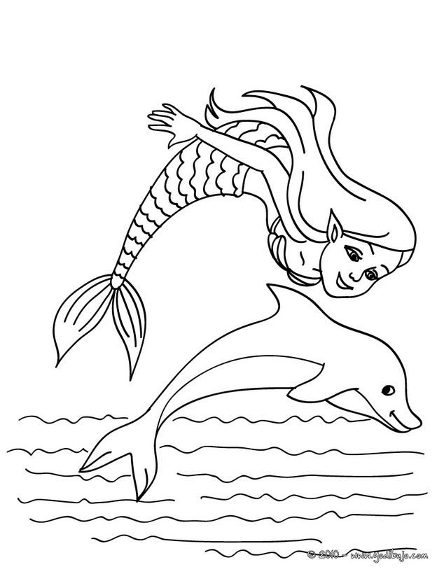 Dibujos para colorear una sirena y un delfin - es.hellokids.com