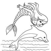 Dibujo para colorear una sirena y un delfin - Dibujos para Colorear y Pintar - Dibujos para colorear de FANTASIA - Dibujos SIRENAS para colorear - Dibujos de SIRENAS CON ANIMALES para colorear