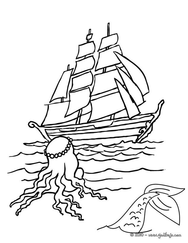 Dibujos para colorear una sirena y un barco  eshellokidscom