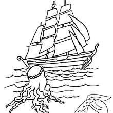 Dibujo de una sirena y un barco para colorear - Dibujos para Colorear y Pintar - Dibujos para colorear de FANTASIA - Dibujos SIRENAS para colorear - Dibujos para pintar SIRENA