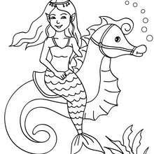 Dibujo de una sirena con un hipocampo para colorear - Dibujos para Colorear y Pintar - Dibujos para colorear de FANTASIA - Dibujos SIRENAS para colorear - Dibujos de SIRENAS CON ANIMALES para colorear