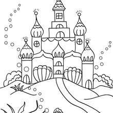 Dibujo del reino submarino de las sirenas para colorear - Dibujos para Colorear y Pintar - Dibujos para colorear de FANTASIA - Dibujos SIRENAS para colorear - Dibujos del REINO DE LAS SIRENAS para colorear
