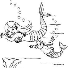 Dibujo para colorear : una mama sirena con su hija
