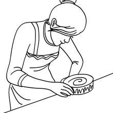 Dibujo para colorear : Mama preparando el pastel de cumpleaños