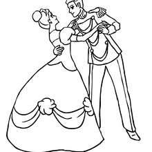 Pareja de principes bailando para colorear - Dibujos para Colorear y Pintar - Dibujos de PRINCESAS para colorear - Dibujos de PRINCESA Y PRINCIPE para colorear