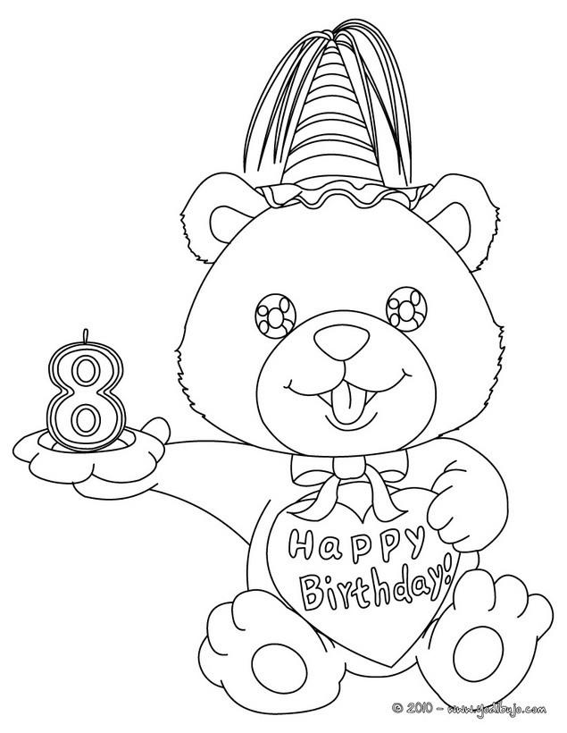 Dibujos para colorear vela de cumple 9 años - es.hellokids.com