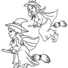 Dibujo para colorear : amigas brujas en sus ecobas para halloween