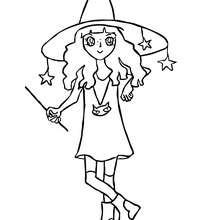 Dibujo para colorear : una bruja manga para halloween