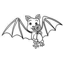 Dibujo de murcielago con chuches para colorear - Dibujos para Colorear y Pintar - Dibujos para colorear FIESTAS - Dibujos para colorear HALLOWEEN - Dibujos para colorear MURCIELAGOS HALLOWEEN