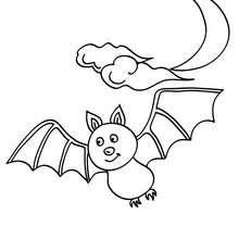 Dibujo para colorear : murcielago volando