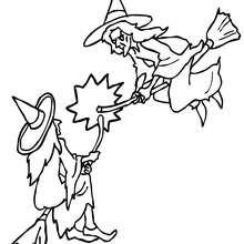 Dibujo de combate de brujas en sus escobas para colorear - Dibujos para Colorear y Pintar - Dibujos para colorear FIESTAS - Dibujos para colorear HALLOWEEN - Dibujos de BRUJAS para colorear - Dibujos de BRUJA EN SU ESCOBA