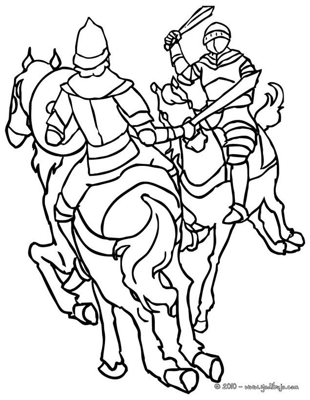 Dibujos para colorear combate de caballeros - es.hellokids.com