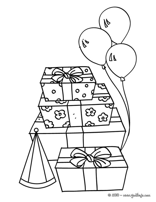 Dibujos para colorear regalos de cumpleaños - es.hellokids.com