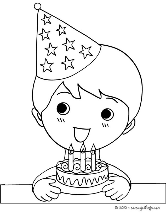Dibujos para colorear un niño soplando sus velas de cumple - es ...