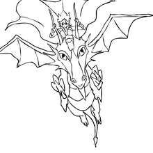 Dibujo de un Dragon con su dragonero para colorear