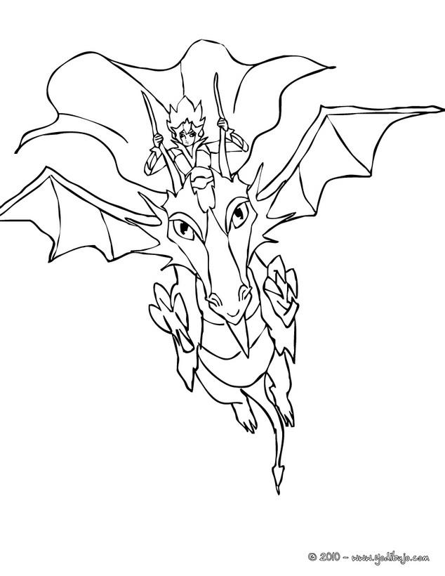 Dibujos para colorear dragon con su dragonera - es.hellokids.com