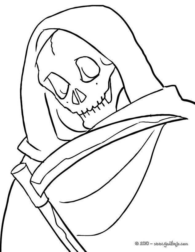 Dibujo para colorear : retrato de la muerte de halloween