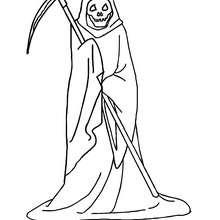 Dibujo para colorear : la muerte con segadera  halloween