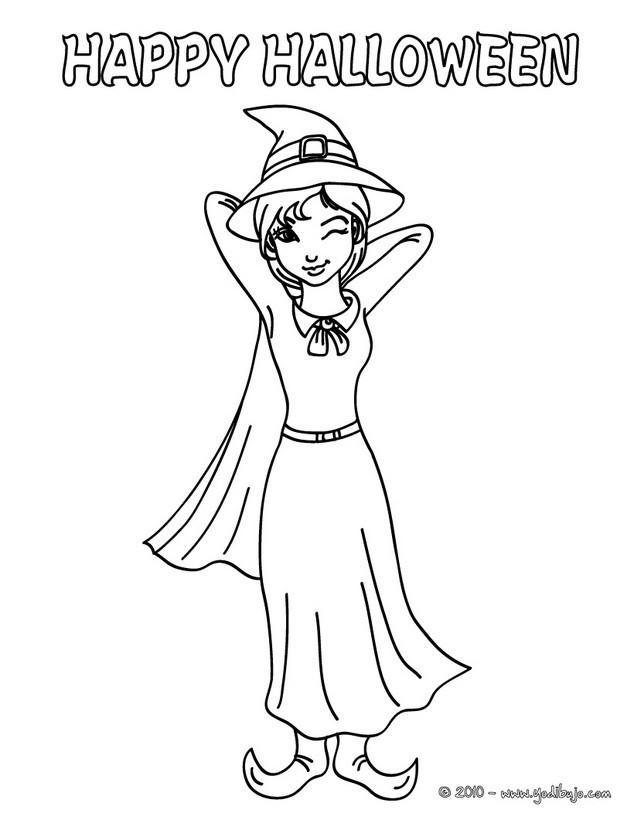 Dibujos para colorear guiño de bruja - es.hellokids.com