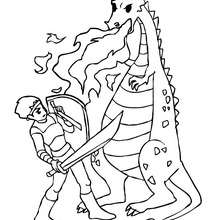 Dibujo para colorear : un combate de dragon contra caballero