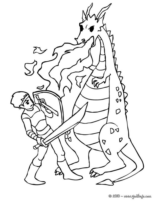 Dibujos para colorear un combate de dragon contra caballero - es ...
