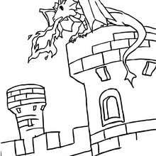 Dibujo para colorear : dragon escupiendo fuego